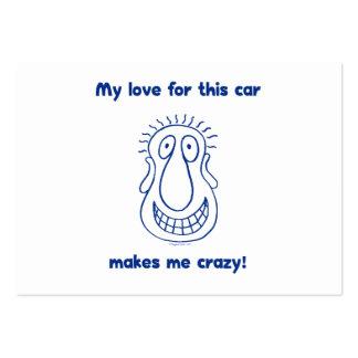 Amor loco para los coches tarjeta de visita