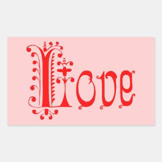 Amor Loopy rojo de lujo Pegatina Rectangular