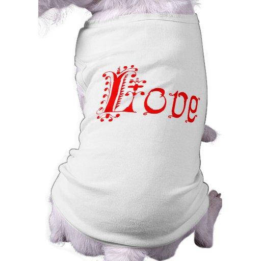 Amor Loopy rojo de lujo Playera Sin Mangas Para Perro
