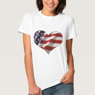 Amor los E.E.U.U. de la bandera del corazón de Playera