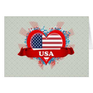 Amor los E.E.U.U. del vintage I Tarjeta De Felicitación