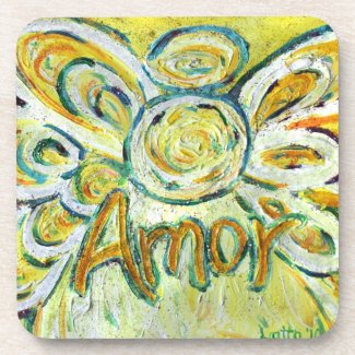 Amor Love Angel Word Cork Coasters