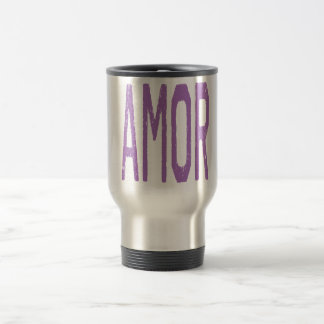 AMOR (Love in Spanish) in Purple 15 Oz Stainless Steel Travel Mug