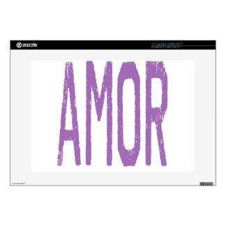 AMOR (Love in Spanish) in Purple Skins For Laptops