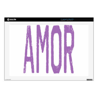 AMOR (Love in Spanish) in Purple Decals For Laptops