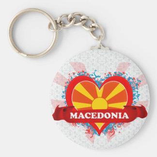 Amor Macedonia del vintage I Llavero Personalizado