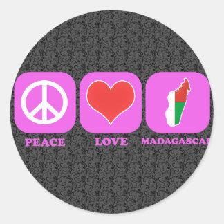 Amor Madagascar de la paz Pegatina Redonda