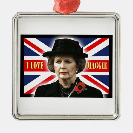 Amor Maggie de Margaret Thatcher I Adorno Cuadrado Plateado