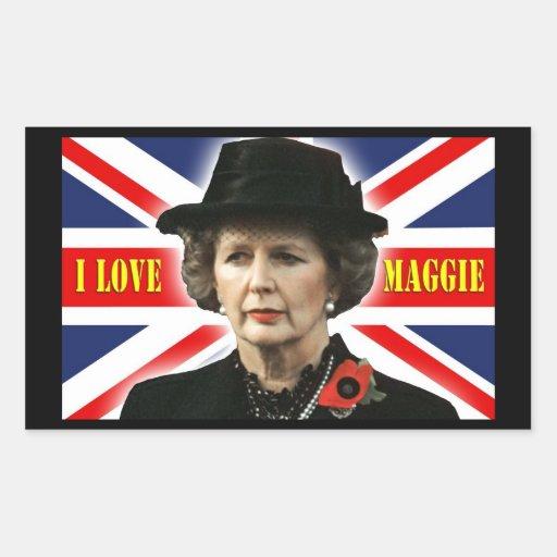 Amor Maggie de Margaret Thatcher I Pegatina Rectangular