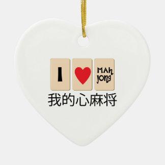Amor Mah Jong Adorno Navideño De Cerámica En Forma De Corazón