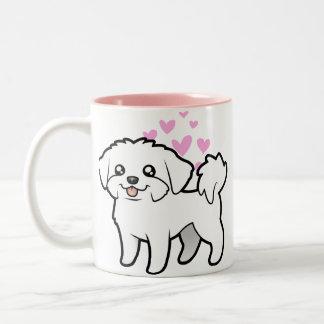 Amor maltés (perrito cortado) taza de dos tonos