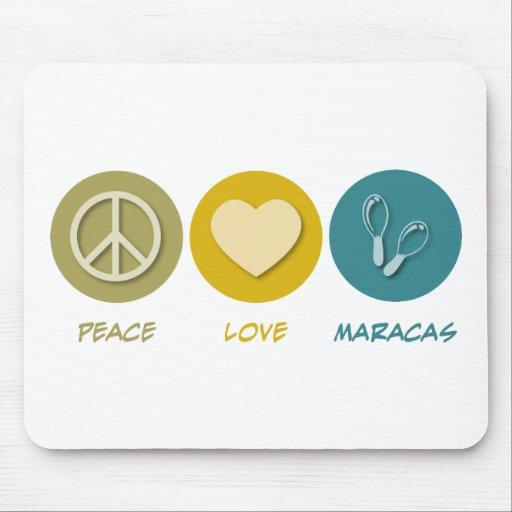 Amor Maracas de la paz Alfombrilla De Ratón