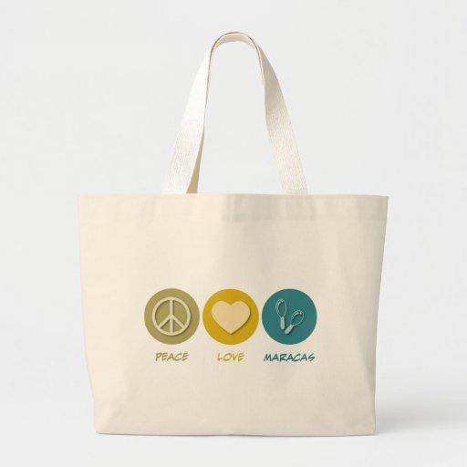 Amor Maracas de la paz Bolsa Tela Grande