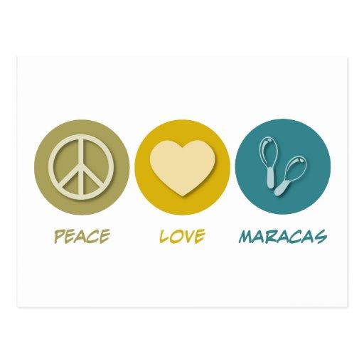 Amor Maracas de la paz Tarjeta Postal