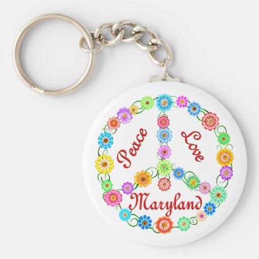 Amor Maryland de la paz Llavero Redondo Tipo Pin