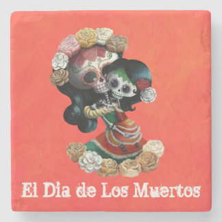 Amor maternal esquelético mexicano posavasos de piedra