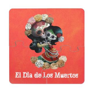 Amor maternal esquelético mexicano posavasos de puzzle