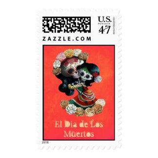 Amor maternal esquelético mexicano sello postal