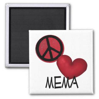 Amor Mema de la paz Imán Cuadrado