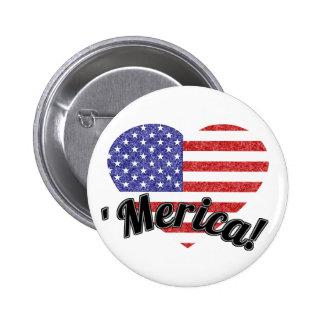 ¡Amor 'Merica! Bandera americana en forma de coraz Pin