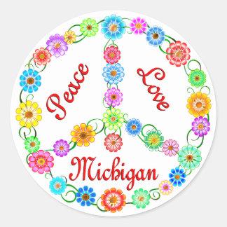 Amor Michigan de la paz Etiqueta Redonda