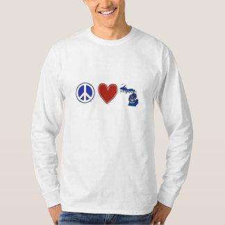 Amor Michigan de la paz Playeras