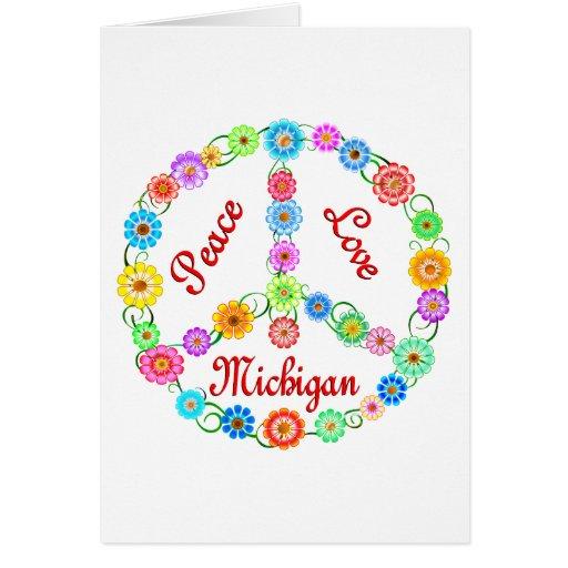 Amor Michigan de la paz Tarjeta De Felicitación