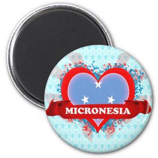 Amor Micronesia del vintage I Imán Redondo 5 Cm