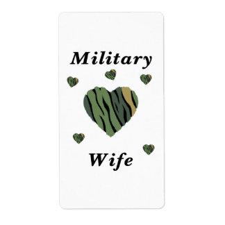 Amor militar de la esposa etiqueta de envío