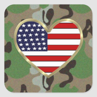 Amor militar pegatina cuadrada