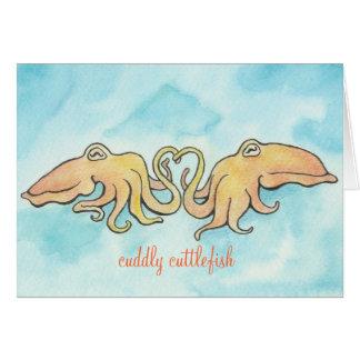 Amor mimoso de las jibias tarjeta de felicitación