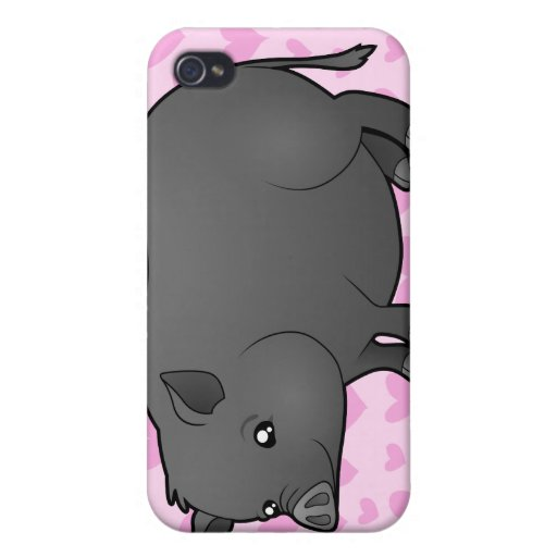Amor miniatura del cerdo iPhone 4/4S carcasas