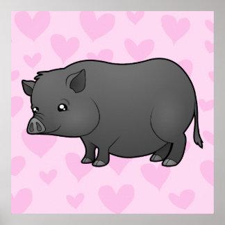 Amor miniatura del cerdo póster