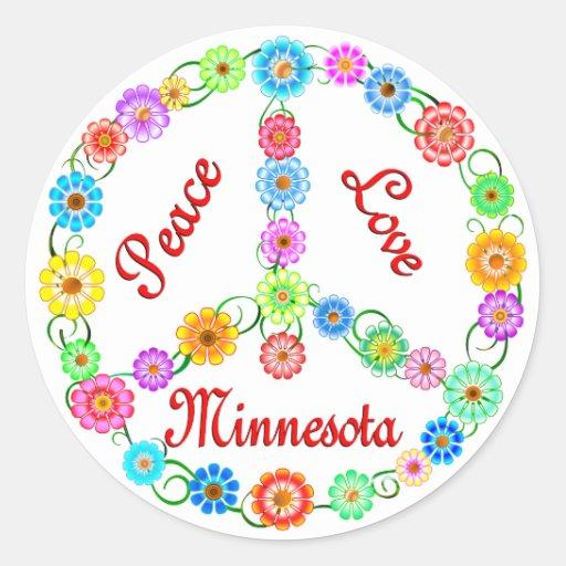 Amor Minnesota de la paz Etiqueta Redonda