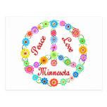 Amor Minnesota de la paz Tarjeta Postal