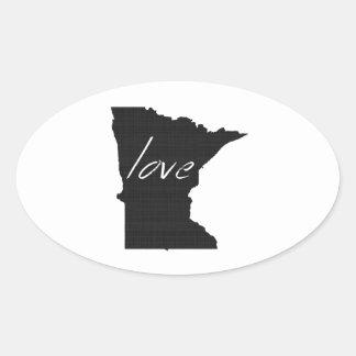 Amor Minnesota Pegatina Ovalada