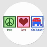 Amor Mitt Romney de la paz Pegatina Redonda