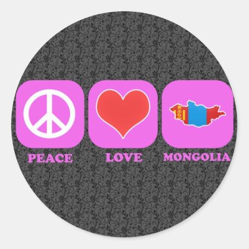 Amor Mongolia de la paz Pegatina Redonda