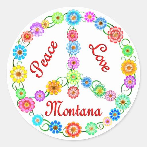 Amor Montana de la paz Etiqueta Redonda