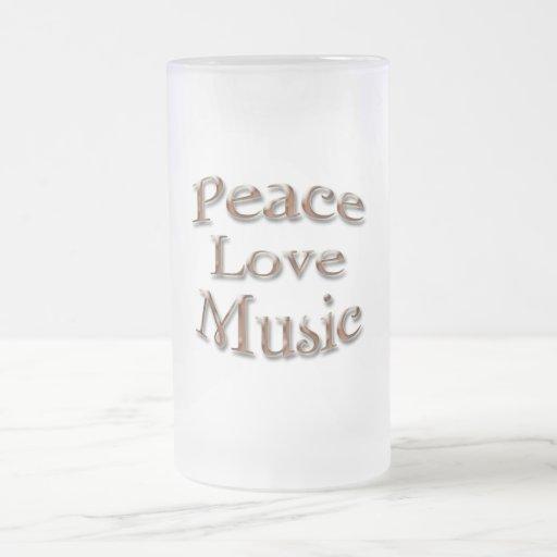 Amor Music5 de la paz Taza Cristal Mate