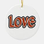Amor naranja-rojo de Polkadot Ornamente De Reyes
