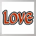 Amor naranja-rojo de Polkadot Poster