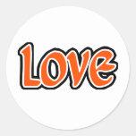 Amor naranja-rojo pegatinas redondas