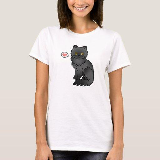 Amor negro del gato persa playera
