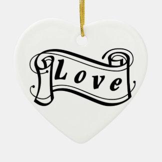 Amor negro sabe rollo de escritura adorno navideño de cerámica en forma de corazón