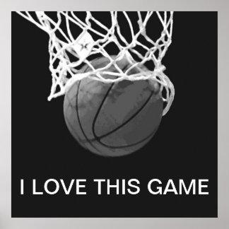 Amor negro y blanco del poster I del baloncesto es