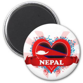 Amor Nepal del vintage I Imán Redondo 5 Cm
