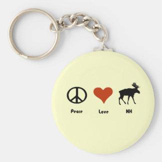 Amor New Hampshire de la paz Llavero Redondo Tipo Pin