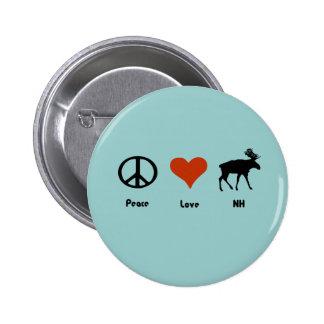 Amor New Hampshire de la paz Pin Redondo De 2 Pulgadas