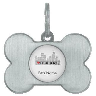 Amor NUEVA YORK Placas De Nombre De Mascota